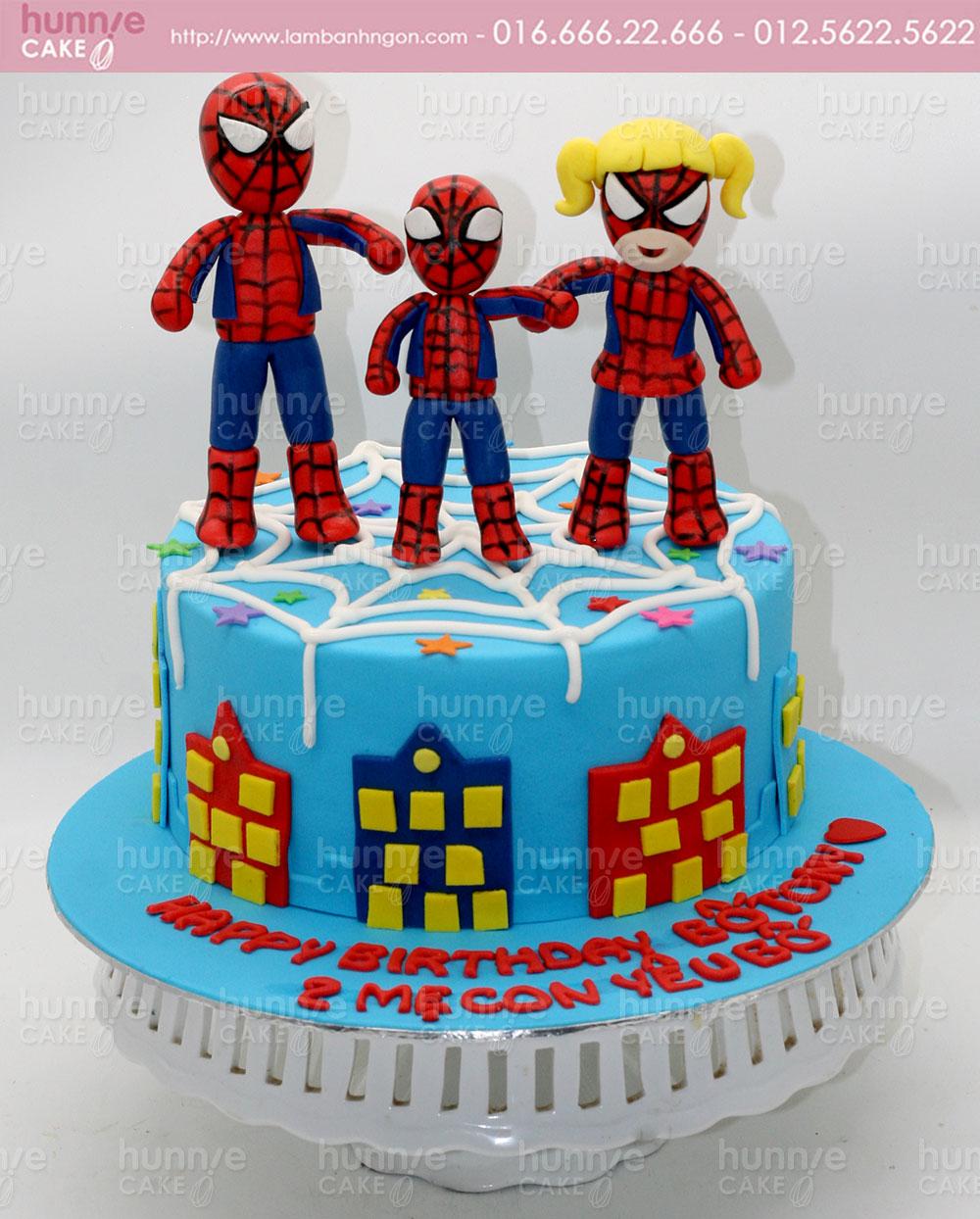 Bánh gato sinh nhật 3 anh em siêu nhân người nhện Spiderman đoàn kết 3985 -