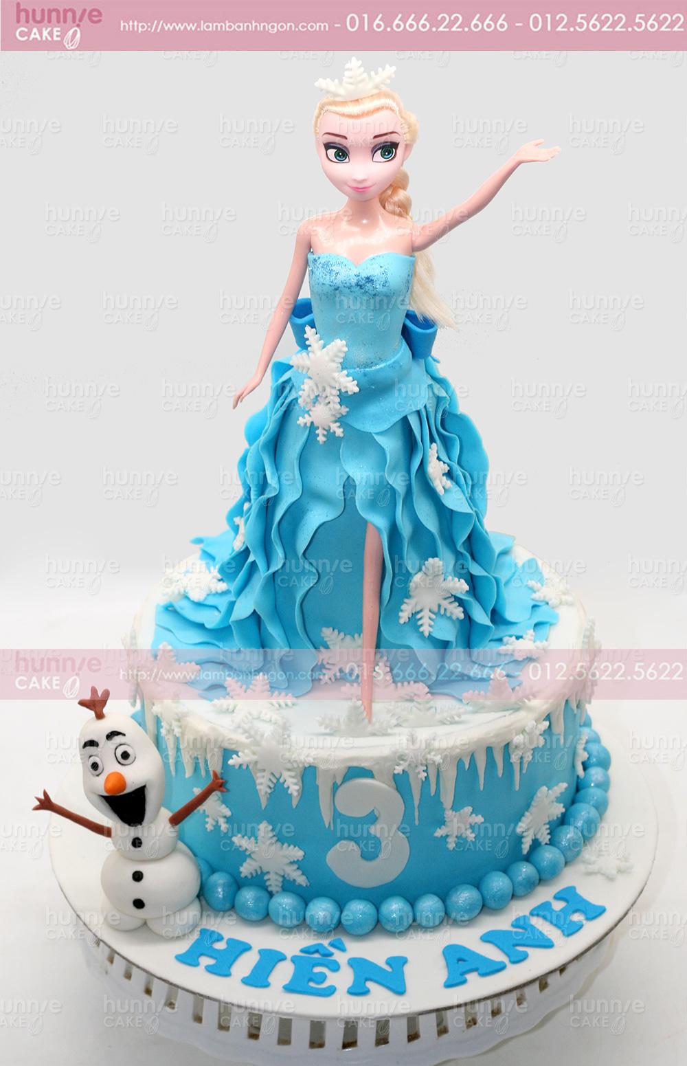 Bánh gato sinh nhật đường fondant búp bê công chúa Elsa 4310 - Bánh ngon đẹp