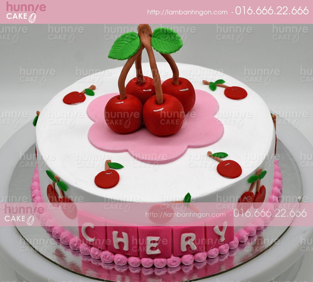 Bánh gato sinh nhật hình quả Cherry mọng nước bằng fondant, bánh dành tặng bé gái [MS: 3632]