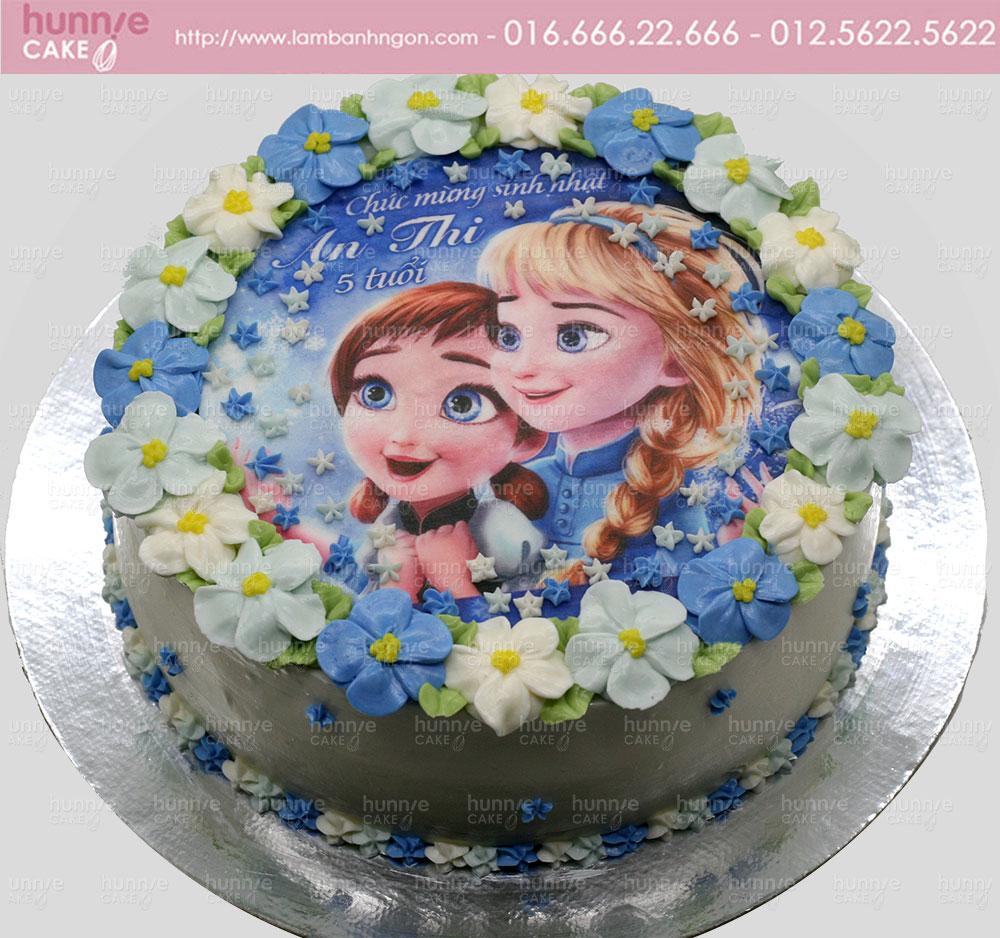 Bánh gato sinh nhật in hình ảnh Công chúa Elsa và Anna nhỏ bé (Babies Elsa And Anna) [MS: 4232]