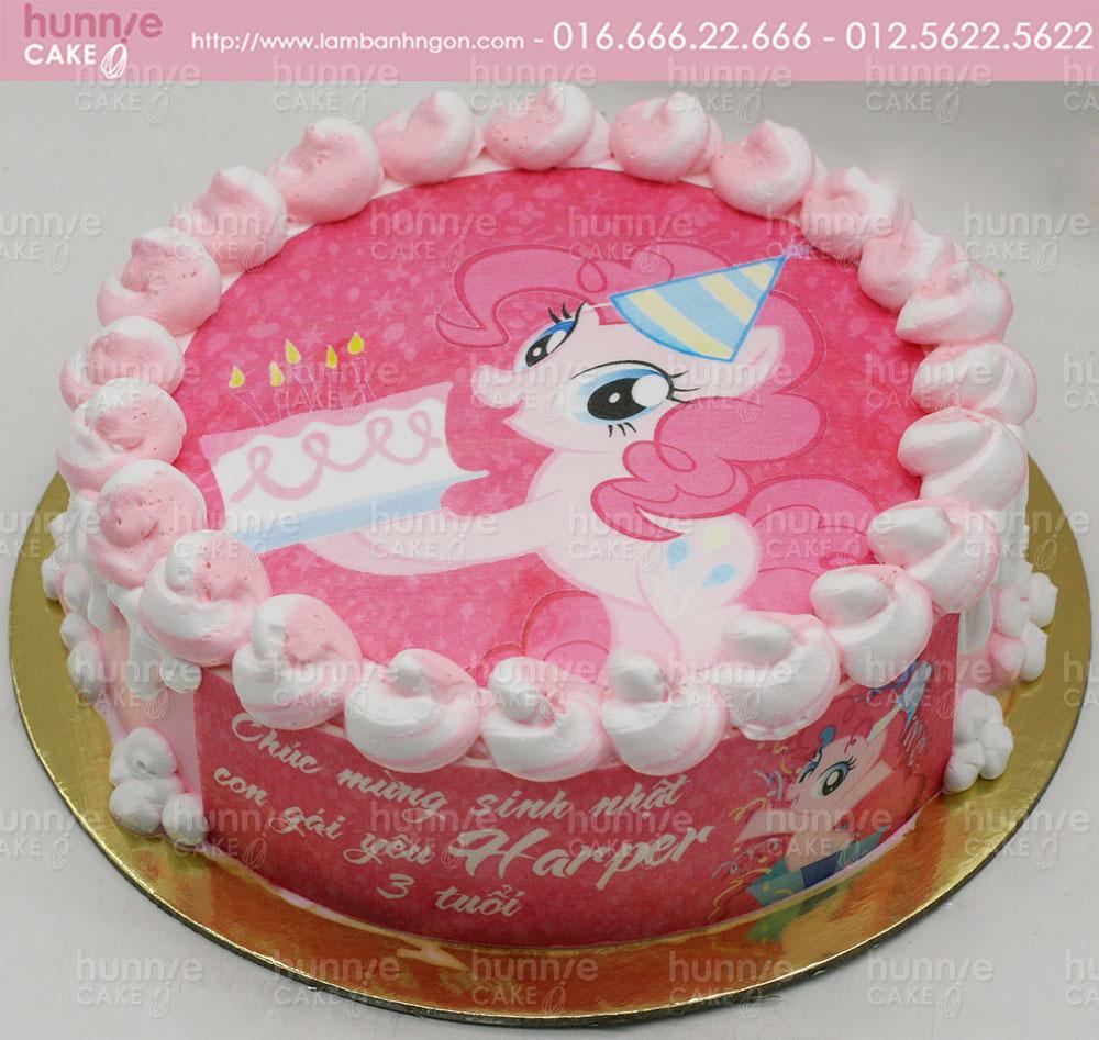 Bánh Gato Sinh Nhật In Hình ảnh Ngựa Pony Nhỏ Bé Màu Hồng