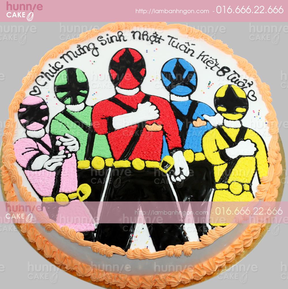 Bánh gato sinh nhật 5 anh em siêu nhân Gao cỡ to 25cm 3281 - Bánh